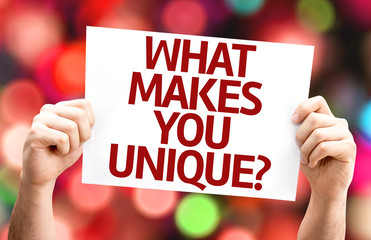 What Makes You Unique? card with colorful background