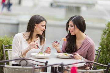 Young women in restaurant