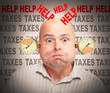 Frustrated businessman under pressure. High taxes concept.