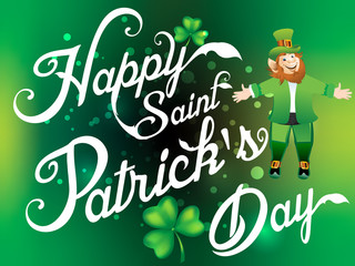 Happy Saint Patirck's Day  Background  with Leprechaun Cartoon