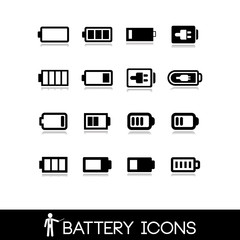 Battery icons - Set vector 3