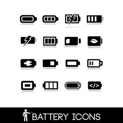 Battery icons - Set vector 2
