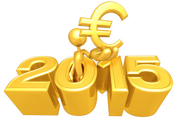 Holding A Euro Symbol Coming Out Of The Year
