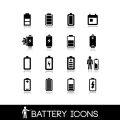 Battery icons - Set vector 1