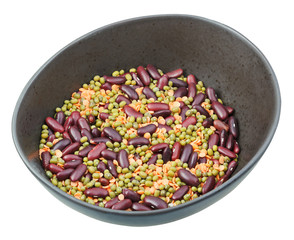 beans blend in ceramic bowl isolated on white