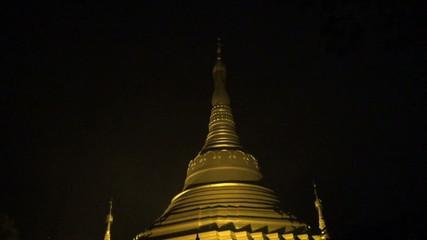 buddhists stupa temple in Kushinagar at night, India