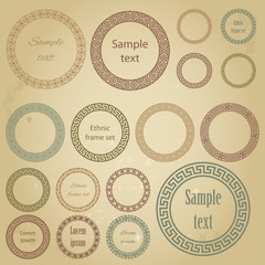 Ethnic round frames of different size with sample text