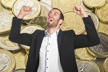 Man celebrates winning