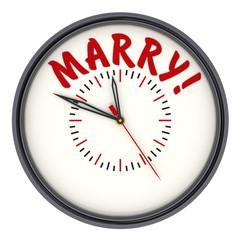 Время жениться! (Marry!) . Стрелочные часы с надписью
