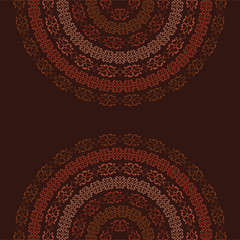 Half-round frame template of ethnic smooth colorful textures