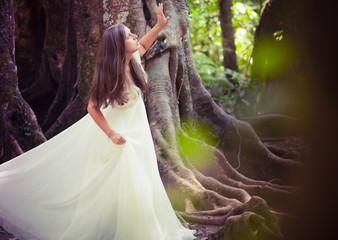 bride in fairy forest