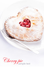 Heart shaped cherry pie with sample text on white background