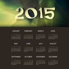 Calendar 2015 Template with Triangular Geometric Background