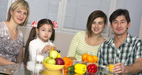 Breakfast of multiethnic family