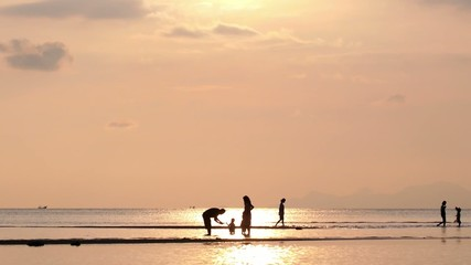 Family on Beach in the Sea at Sunset