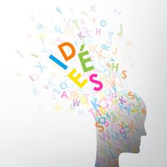 IDÉES (tête créativité vecteur silhouette innovation)