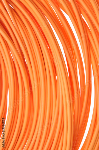 Leinwanddruck Bild Orange multimode fiber optical cables