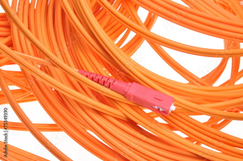 canvas print picture Fiber optic cables isolated on white background