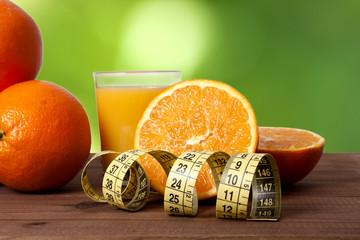 fresh oranges and tape