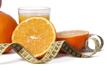 fresh oranges with tape, healthy diet