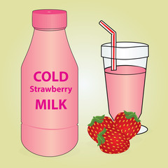 Bottle and Glass of Cold Strawberry Milk With Fresh Fruit