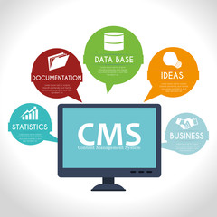 CMS design over white background vector illustration