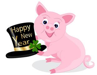 Glücksschweinchen wünscht Happy New Year