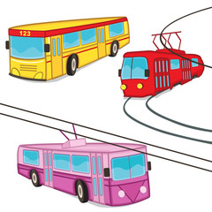 trolleybus tram bus isolated - vector illustration, eps
