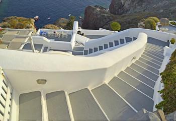 santorini steps, sea, in oia city