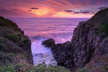 Fiery sunrise skies at Minamurra Headland South Coast Australia