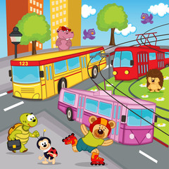animals trolleybus tram bus - vector illustration, eps