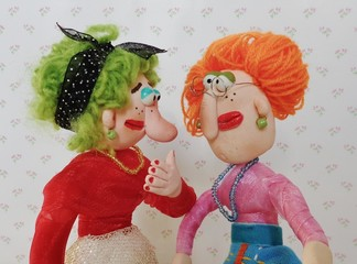 Puppets friends talk together
