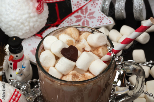 Foto op Canvas Chocolade Hot chocolate with marshmallows cocoa bell love heart