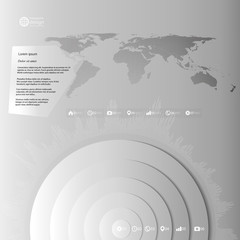 World map in perspective, infographic vector template for