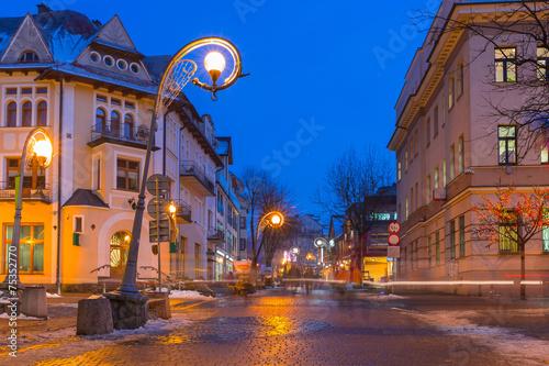 Famous Krupowki street in Zakopane, Poland