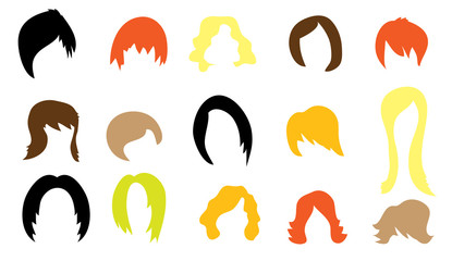 Set of colorful wigs