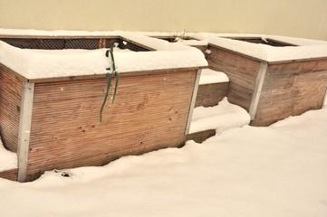 Hochbeet im Winter