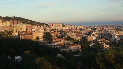Top view of Barcelona from park Guel on a sunset.