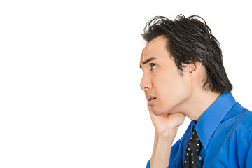 Worried stressed young business man on white background
