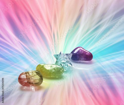 Spoed canvasdoek 2cm dik Edelsteen Rainbow Healing Crystals