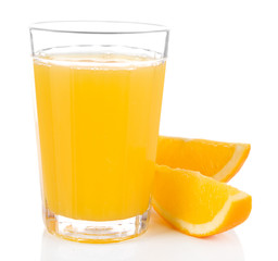 Glass of orange juice with slices isolated on white