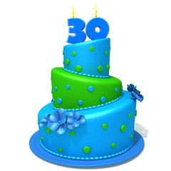 Birthday cake with number thirty 3d illustration