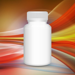 Blank medicine bottle  on abstract background
