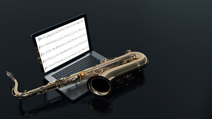 computer with saxophone
