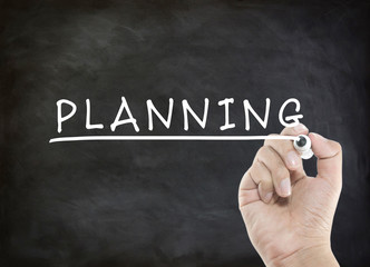 planning word on blackboard