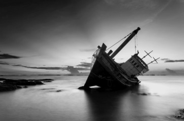 The wrecked ship in black and white