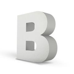 white letter B