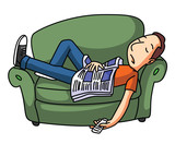 Lazy Man Sleep On Sofa poster