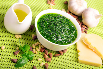 Freshly made pesto sauce