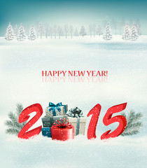 Holiday background with presents and 2015. Vector